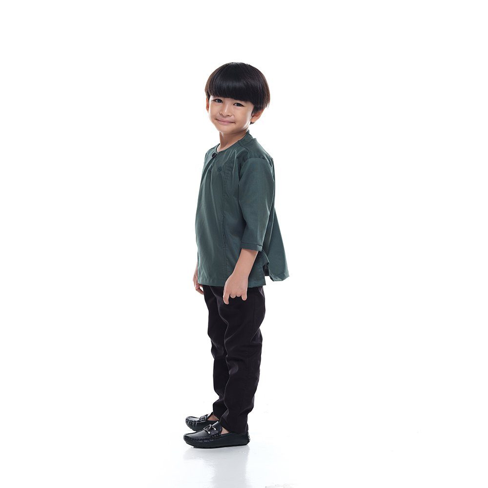 Kurta Falique KidsSANGRIA GREEN 2g Rijal & Co
